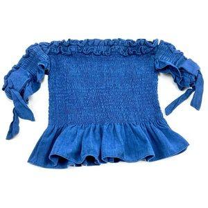 Dance&Marvel Blue Off Shoulder Smocked Crop Top S